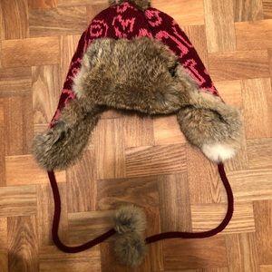 Rare and unique rabbit fur Coach winter hat w/pom